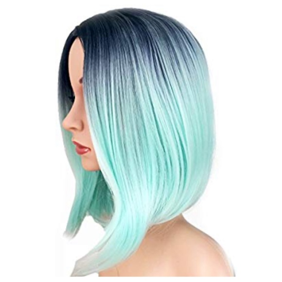 Teal Silver Blue Synthetic Bob Wig with Dark roots
